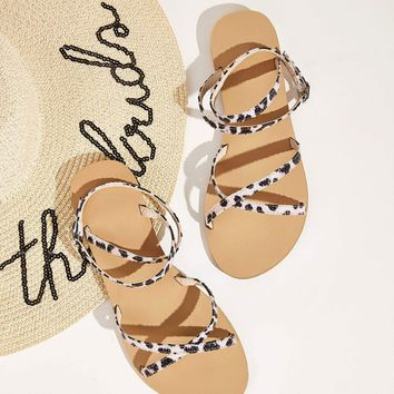 Two Tone Ankle Strap Flat Sandals