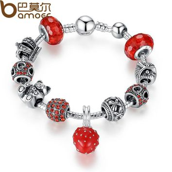 Silver Color Charm Bracelet & Bangle with Crown & Bear Charm & Heart Crystal Ball Red Murano Glass for Women PA1457