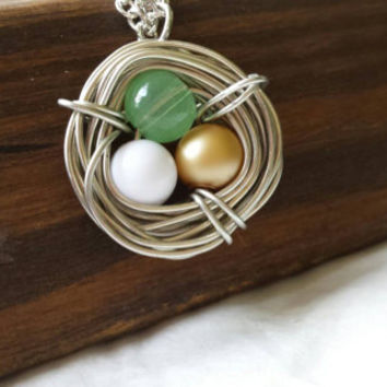 Birds nest, Custom necklace,  mothers necklace, mother bird, gift for mother, grandmother gift, baby shower gift, new mother