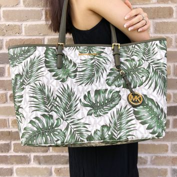 Michael Kors Jet Set Travel Large Carryall Tote Vanilla MK Olive Green Palm Leaves