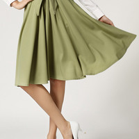 Army Green Elastic Tie Waist Pleated Flare Midi Skirt