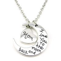 """I Love You to the Moon & Back"" Charms Pendant Necklace OR Keychain (Silver OR Gold)"