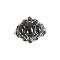 Filigree & Hematite Cabochons Ring Signed Avon Vintage Size 5.5 Midnight Splendor 1977