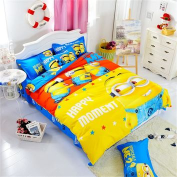 Hot Cotton Bedding Set Cartoon Printing Minions Mitch Bedclothes for Baby Children Kid Bed Linen Twin Full Queen Duvet Cover Set