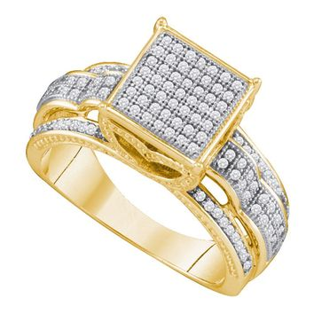 10kt Yellow Gold Womens Round Diamond Elevated Square Cluster Bridal Wedding Engagement Ring 3/8 Cttw