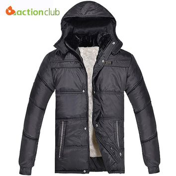 ACTIONCLUB Men Fur Collar Winter Jacket Winter Mens Plus Velvet Jackets Hat Detachable Coat Men's Trench Coat Clothing