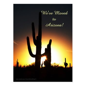 Saguaro with Sun Star, New Address Announcement Postcard