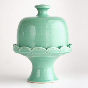 "Cupcake Stand - 5"" Cake Stand with Dome - Green"