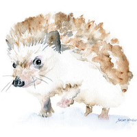 Watercolor Painting Hedgehog Giclee Print 5x7 Nursery Art