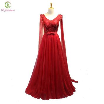 SSYFashion Wine Red Lace Evening Dress The Bride Sexy V-neck with Ribbon Beading Floor-length Party Formal Dress Robe De Soiree