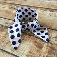 Ready To Ship Navy and White Bun Wrap Pony Tail Tie Hair Scarf Polka Dot Bow