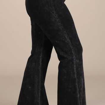 Chatoyant Plus Size Mineral Wash Flare Pants in Black