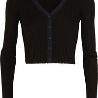 T by Alexander Wang - Cropped ribbed wool cardigan