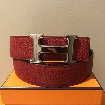 Auth HERMES Red/Black Leather Belt Kit 32 mm 85cm Palladium H Buckle