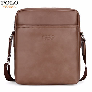 Simple Solid Design Business Man Bag Casual Zipper Open Classic Leather Shoulder Bag For Men Messenger Bag
