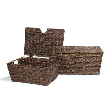 Set of 2 Dark Seagrass Lidded Woven Baskets