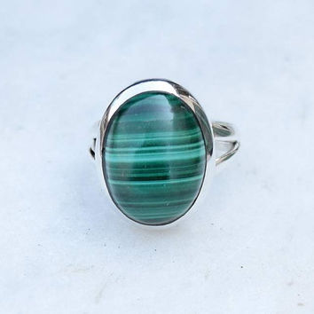 Melachite ring, silver ring, stone ring, silver Melachite ring, 92.5 sterling silver, Melachite Silver Ring,RNSLML209
