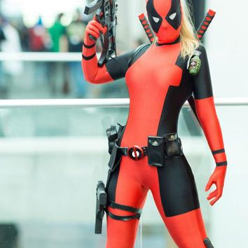 LMFUS4 Lady Deadpool Costume Black and Red Spandex Bodysuit with Ponytail Hole halloween costumes for women/female/girls
