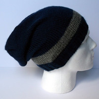 Hand knitted men's slouchy beanie hat. Adult or teenager. Blue with grey stripes.
