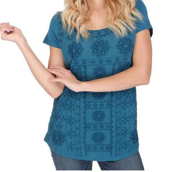 LMFYW3 Lucky Brand  Embroidered Tee Peacock