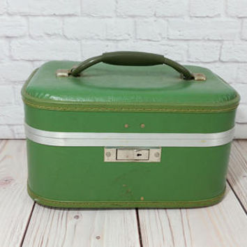 Vintage Green Train Case Cosmetics Case