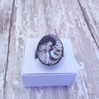 Vintage Pin Up Girl with Clown Mask Ring - Adjustable, Bronze, Glass Dome