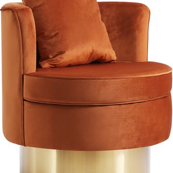 Kendra Cognac Velvet Accent Chair