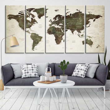 23136 - Large Wall Art World Map Canvas Print- Custom World Map Push Pin Wall Art- Custom World Map Canvas Poster Print- Personalized Wall Art