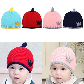 Newborn Baby Crown Hat Wool Knitted Caps for Boys Girl Children Splicing Color Comfortable Winter Warm Hats Beanies