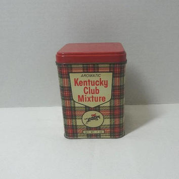 1960s Kentucky Club Mixture Smoking Tobacco Tin ONLY, Red Plaid, 7 oz. Tin, 4.75 Inches Tall, Vintage Tobacco Canister, West Virginia