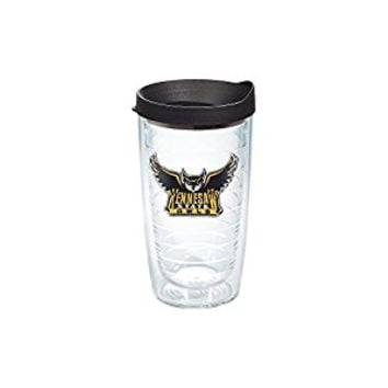 Tervis 1088818 Kennesaw State University Emblem Individual Tumbler with Black lid, 16 oz, Clear