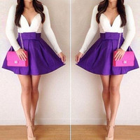 White and Purple Long Sleeve Bowknot Mini Dress