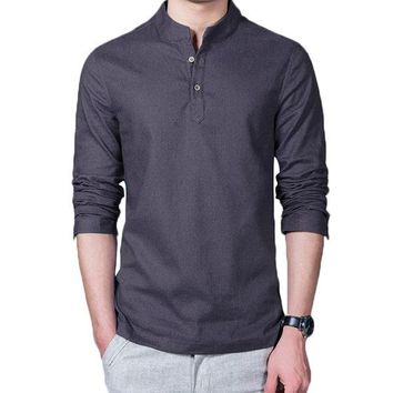 Mens Chinese Style Linen Long Sleeve T-shirt Fashion Solid Color Casual Tops
