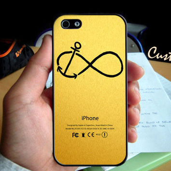 Infinity Anchor in Gold Texture  - Photo Hard Case design for iPhone 4/4s Case, iPhone 5 Case, Black or White ( Choose Option )