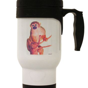 Monkey in Tree Watercolor Stainless Steel 14oz Travel Mug