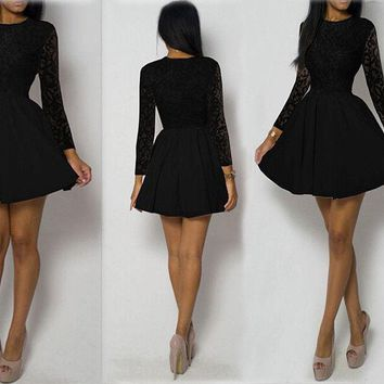 USA Women Ladies Lace Long Sleeve Casual Flared Party Bodycon Skater Short Dress