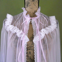 Vintage Sheer Robe Lavender Lace Sexy Bombshell Robe Lorraine Dressing Gown Nightwear Pin UP Girl Vargas Girl  Sheer Intimate Apparel