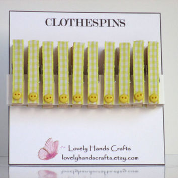 Mini Wood Clothes Pin, Baby Shower Favors, Yellow Gingham - Set of 10