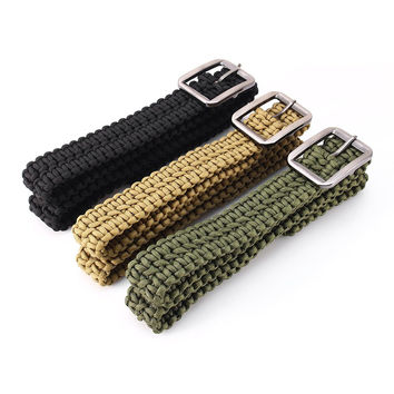 Survival Paracord Belt 550 Paracord Belt Utility Belt Milspec Cord Solid Steel Buckle Black Army green Khaki