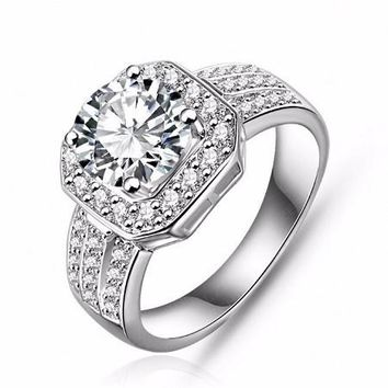 925 Silver Plated Vintage Style Cushion Cut Diamond Simulant Square Faced Ring