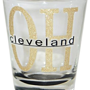 GLCL04 Shot Glass Glitter OH Cleveland with Color Bottom