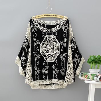 Big Size Embroidery Camicia Donna Hippie Boho Transparan Zaful Tunique Femme Satin Beach Bohemian Women Blouse Shirt Ladies Tops