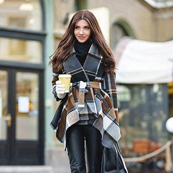 Women's Plaid Turn Down Shawl Collar Open Front Long Sleeve Check Asymmetric Hemline Wool Blend Coat