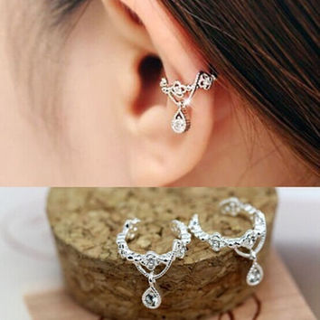 deals] New 1PCS Punk Hanging Hollow Drill Ear Cuff Rhinestone Cartilage Clip On Earring = 5979124417