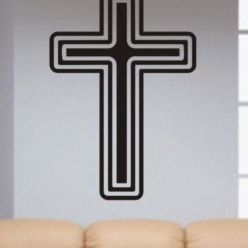 Cross Decal Sticker Wall Christian God Religious Beautiful Modern