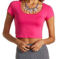 Cotton Short Sleeve Crop Top by Charlotte Russe - Fuchsia