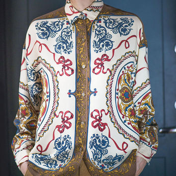 Vintage Floral Long Sleeve Blouse. Royal Flowers Shirt Brown Navy Beige shades. Floral arabesque shirt for lady. Paris made Blouse Size M