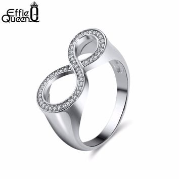 Effie Queen Simple Digital 8 Silver/Rose Gold Color Ring Jewelry Engagement Anillos Bridal Wedding Finger Rings For Woman DOR126