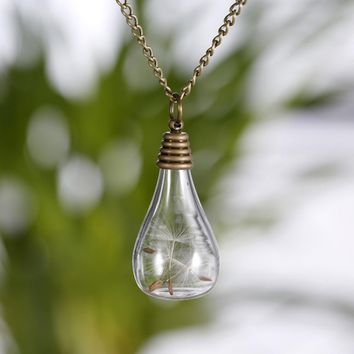 Handmade Fine Necklace Color Bronze/ Silver Plated DIY Creative Dandelion And Glass Bulb Necklace