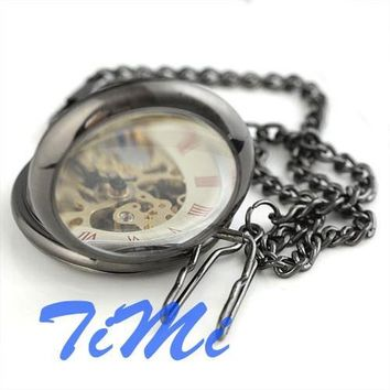 Mens Pocket Watch pendant watch Polished Silver Gray Skeleton Collect